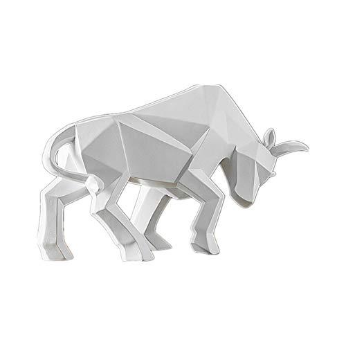 Escultura Estatua Decoraciones Estatua De Toro Escultura De Corrida De Toros Decoración De Resina De Buey Decoración del Hogar Estatuas De Mesa Estatuilla De Bisonte Gabinete De Animales, Blanco