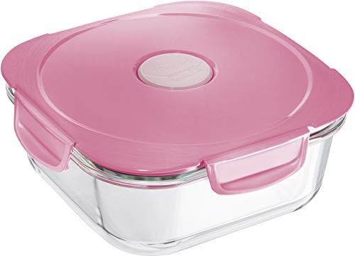 Maped PICNIK Boîte à Déjeuner en Verre avec Couvercle Etanche - Boite Alimentaire Compatible Micro-Ondes, Four et Lave-Vaisselle - 1,2L - Rose