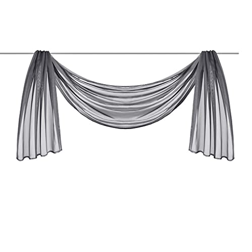 Ricemru Extra Lang Querbehang Freihanddeko Grau Vorhangschal Transparentem Voile Querbehang Gardine Schals Hochzeit Bogen Dekoration 140x300cm