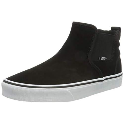 Vans Asher Mid, Sneaker Donna, Camoscio Nero Bianco, 37 EU