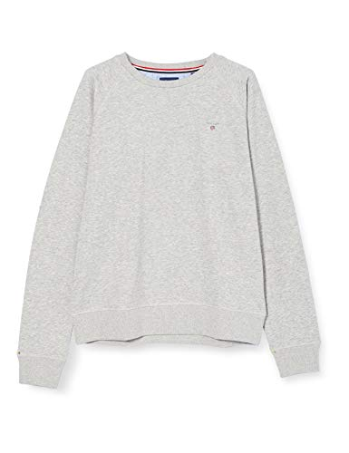 GANT Jungen D1. The ORIGINAL C-Neck Sweat Pullover, Light Grey Melange, 176