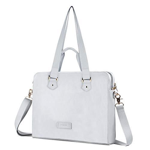 Kamlui Laptop Bag 13/13.3 Inch - for Women PU Waterproof Fashion Carrying Shoulder Messenger Macbook Pro Air tote Computer Laptop Case (Gray)