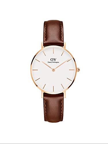 Daniel Wellington Petite St Mawes, Reloj Marrón/Oro Rosado, 32mm, Cuero, para Mujer