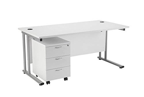 Office Hippo Professional Cantilever Office Desk With 3 Drawer Mobile Pedestal, Wood, White, Silver...