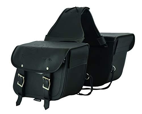 RXL Alforja de Cuero para Motocicleta, Organizador de Almacenamiento de Equipo para Motocicleta Alforja Impermeable para Ambos Lados Caja de Herramientas Alforjas Textura Fuego Negro
