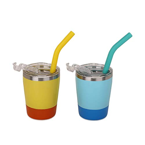 Toddler Cups, K Kichuzl Sippy Cups for Toddlers Double Wall Insulated Stainless Steel Kids Cups with Straws and Lids Easy to Clean Dishwasher Safe (Light Blue/Bright Yellow)
