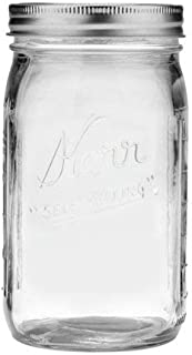 Kerr Wide Mouth Quart 32 Oz. Glass Mason Jars with Lids and Bands, 12 Count