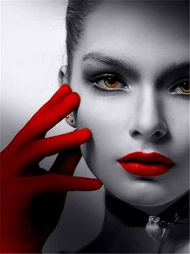 Xykhlj Pintura por numeros - Boca de Sombrero Rojo Mujer - Lienzo preimpreso - Regalo de Pintura al óleo preimpresa - niños Regalo Pintura para - 40x50cm - Sin Marco