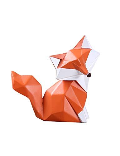Amoy-Art Skulptur Fuchs Geometrisch Figuren Handgefertigte Dekoration Premium Geschenk Souvenir Geschenkbox Sichere Farbe für Kinder Statue Tier Polyresin 9.5cmH