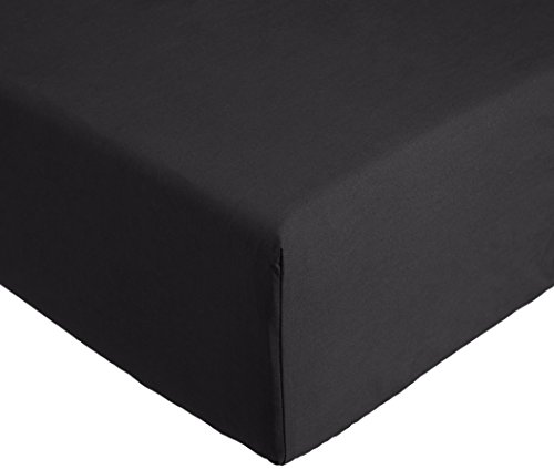 AmazonBasics Everyday hoeslaken van 100 % katoen, 90 x 200 x 30 cm, antraciet