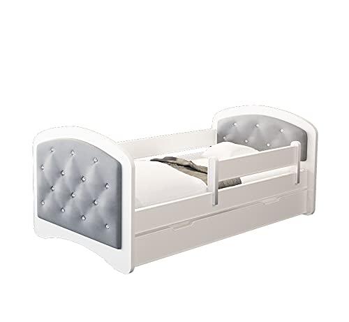 MEBLEX Cama juvenil con protección anticaídas, colchón, cajones y somier, para niños y niñas, 160 x 80 cm, cama infantil con cabecero integrado (gris)
