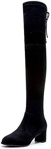 HAOLIEQUAN VêteHommests Femme sur Les Bottes Bottes d'hiver Noir Match Match Tous Chaussures Femmes Bottes Femmes Grande Taille 34-42