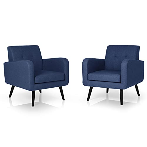 AODAILIHB Living Room Chairs Set of 2 Comfy Accent Chairs with Removable Seat Cushion/Thick Padding Bedroom Furniture Single Sofa for Small Spaces (2, Navy Blue2)