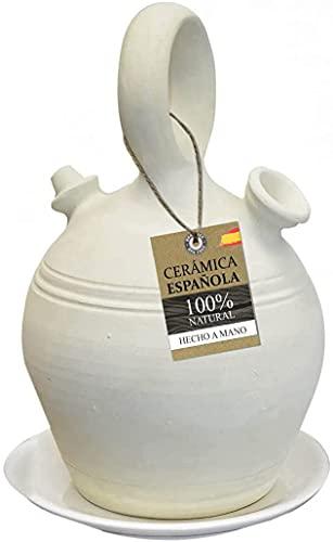 HOGAR Y MAS Botijo de Barro Tradicional, 100% Natural,...