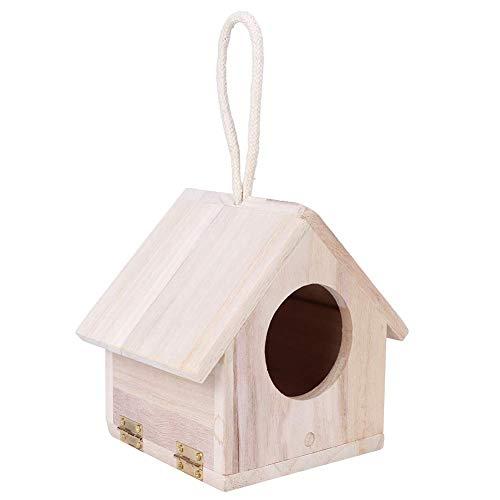 Casa de Madera para pájaros, casa de pájaros Suave, Grano Claro, Apariencia Simple, Prueba de la Ley de Humedad, pequeña para césped de Patio