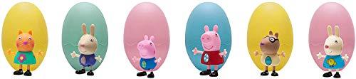 Peppa Pig PEP0414 Wutz 6 Ostereier mit je Einer Peppa Spielfigur, Set mit exklusiven vollbeweglichen Aktionfiguren ca. 8 cm, Original 6teiliges Figuren Spielset für Kinder ab 2 Jahre