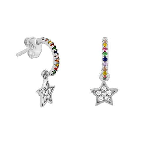 DARK DIAMOND - Pendientes Estrella con circonitas en Plata de Ley 925 rodiado Perfectos y comodos para uso diario. (Plata)