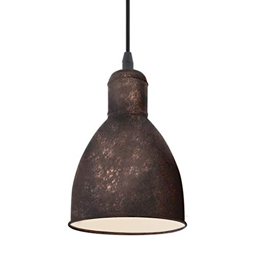 EGLO Priddy 1 - Lámpara de techo colgante vintage con diseño industrial retro, de acero, color: cobre antiguo, casquillo E27