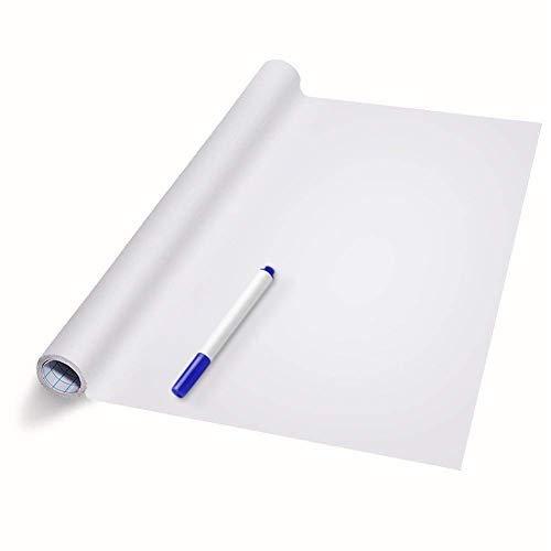 LSTK Pizarra Blanca Adhesiva de Pared, Rollo Pizarra Adhesiva 44.5x200CM para Escuelas Oficinas Casas