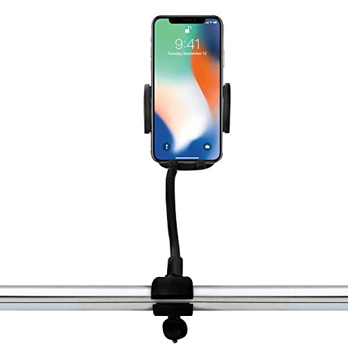 Stroller Phone Holder, Universal Gooseneck Flexible Long Arm Lazy Hands Free Phone Mount Clamp, Stroller Clamp Compatible with iPhone,Android, Galaxy, 360 Degree Rotation,Perfect for Moms on The Go