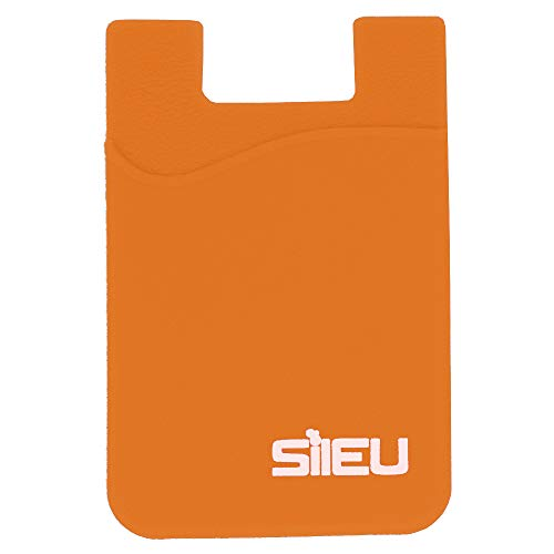 Bolsillo de Silicona Multiusos Portatarjetas con Adhesivo 3M para Movil y Cartera - Compatible con Todos los Modelos de Smartphone e iPhone - Color Naranja