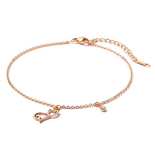 Vioness - Pulsera de tobillo con colgante de gato calado con circonio chapado en oro rosa y acero