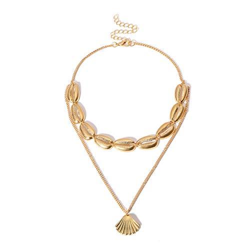 Demino Vrouwen Verstelbare Multi-Layered Choker Meisjes Legering Shell Hanger multi-layered choker Ketting Ketting Hals Ornament
