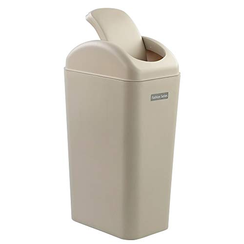Ponpong 14 Litre Plastic Swing Trash Can Dustbin with Lid, Khaki, 1 Pack