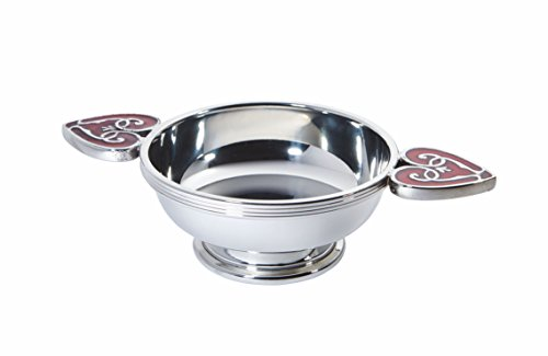 Wentworth Pewter – Heart of the Highlands Zinn Quaich Whisky Probierschale Loving Cup Burns Night Red Hearts
