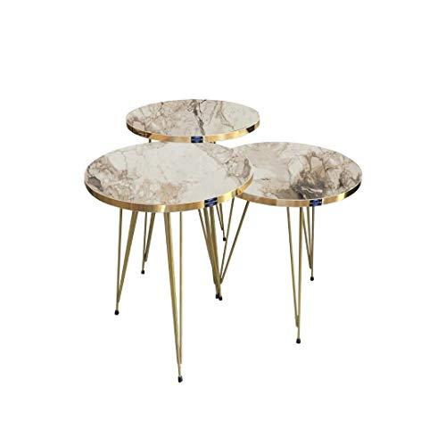 3er Set Design Couchtisch Stapeltisch Beistelltisch Rund (Marmor Weiß/Gold)