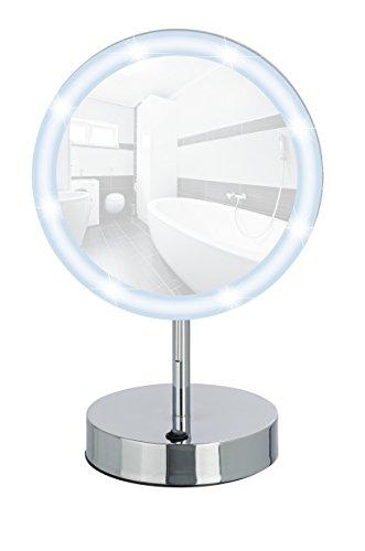 WENKO 3656490100 LED Standspiegel Aura - Kosmetikspiegel, mit hochwertigem Acrylrahmen, Spiegelfläche ø 16.5cm, 500% Vergrößerung, Stahl, 20 x 32 x 14 cm, Chrom