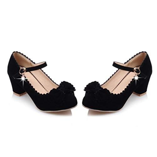 Correa de Tobillo para Mujer Tacones Altos Hebilla Zapatos de Lolita Tacón de Bloque Primavera Otoño Tacón Medio Bombas de Punta Redonda