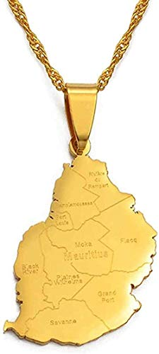Yiffshunl Collar Mapa de Mauricio Nombre de la Ciudad Collares Pendientes para Mujeres Niñas Color Dorado Mauricio África Joyería Regalos Neklace para Mujeres