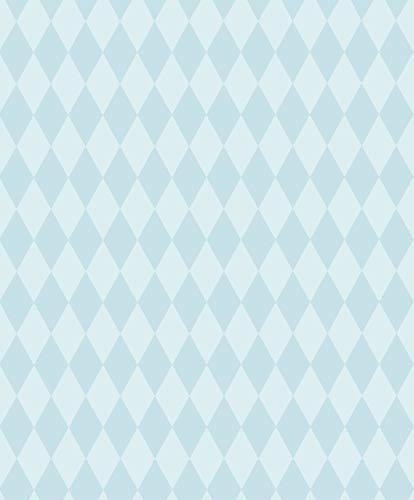 Papel Pintado con Rombos - Tejido no Tejido - Rombos azules - Fabricado en Alemania