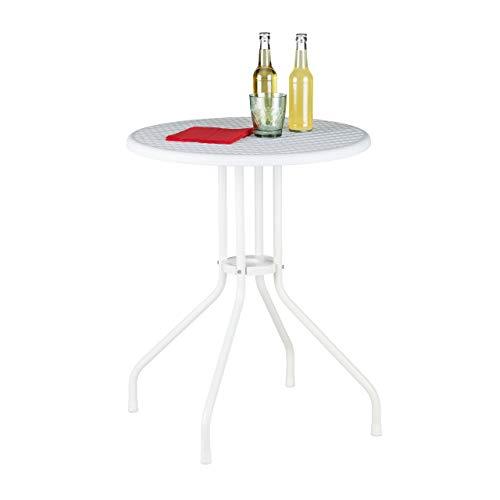 Relaxdays Gartentisch Mesa de jardín, Aspecto de ratán, Redonda, de plástico, Metal, para balcón, Altura 74 x 60 cm, Color Blanco