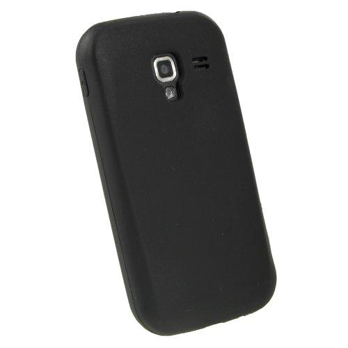 iGadgitz U1806 Custodia Silicone Compatibile con Samsung Galaxy Ace 2 I8160 Android Skin Case Cover + Protettore Schermo - Nero