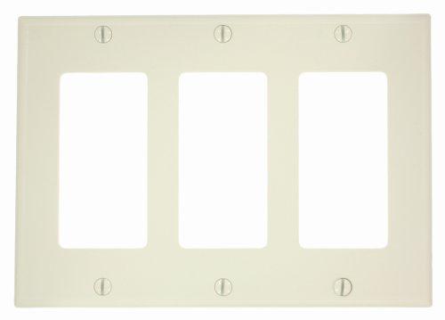 Leviton Decora Placa de pared de 3 unidades/dispositivo de ICFT Almendra claro