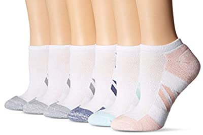 Amazon Essentials Women's 6-Pack Performance Cotton Cushioned Athletic No-Show Socks, White, Shoe Size: 6-9