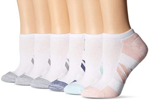 Amazon Essentials Women s 6 Pack Performance Cotton Cushioned Athletic No Show Socks White Shoe product image