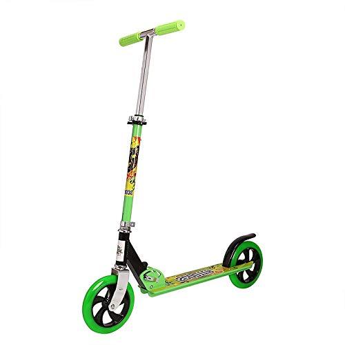 LABYSJ Scooter de 2 Ruedas, Bicicleta de Equilibrio portátil con Ruedas de PU y Manillar Ajustable, diseño Plegable Patinete, Scooters Ligeros para Adultos y niños, 150 kg,Verde