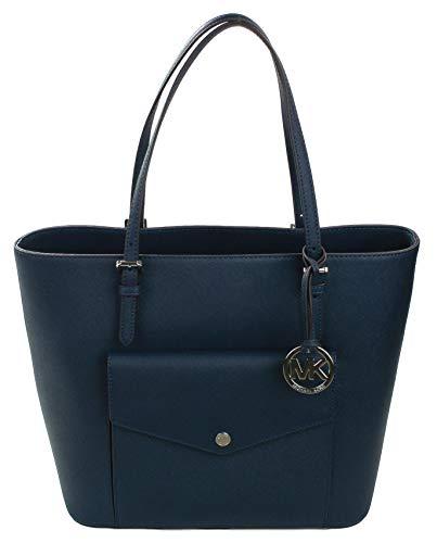 Michael Kors Saffiano Leder Multifunktions-Tragetasche große Handtasche, Blau - navy - Größe: Medium