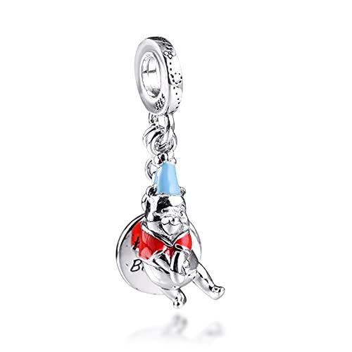 BAKCCI 2021 regalo del día de la madre Winnie cumpleaños colgante de plata 925 DIY se adapta a pulseras originales Pandora encanto joyería de moda