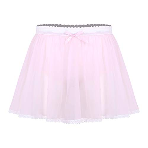 TiaoBug Lencera Ertica para Hombre Gay Sexy Falda Interior de Tul Transparente Pantalones Shortos Ropa Interior con Braguita Disfraz Despedida Solteros Hombres Rosa Large