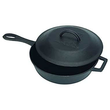 Bayou Classic 7440, 3-qt Cast Iron Skillet with Self-Basting Domed Lid