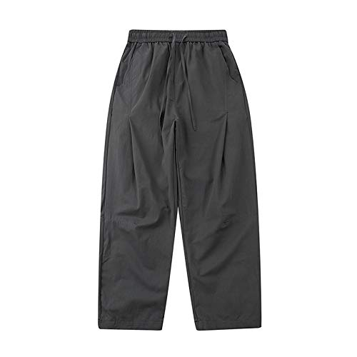 Mens Casual Trousers Straight-Fit Washed Loose Retro Style Solid Color Comfortable Breathable with Drawstring Pockets Cargo Pants Large Gray
