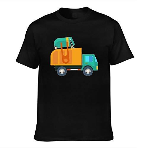 Men's T-Shirt Cartoon Garbage Truck-Printed Trendy Short Sleeve Tees Men Top T Shirts Asian Size Black