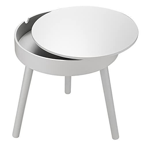 DEKOPRO サイドテーブル 直径39cmx高さ43.5cm 収納スペース付き ベッドサイドテーブル ナイトテーブル ソファテーブル ベッドサイドチェスト コーヒーテーブル