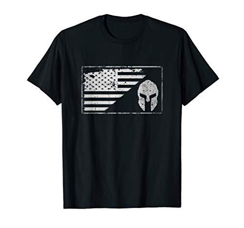 USA Flag American Spartan Helmet Patriotic Vintage T-Shirt