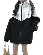 韓国系 ファッション レディース パーカー 長袖 フード付 ジャケット ゆったり コート ジャンパー 体型カバー ブルゾン 薄手 防風 軽量 大きいサイズ