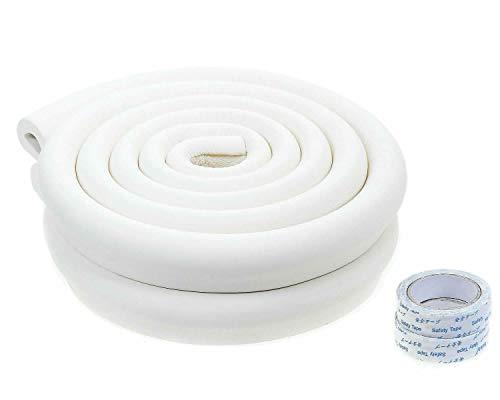 TUKA 4 Metri Protezioni Anti Collisione, U-Forma Schiuma per la Sicurezza, Striscia Paraspigolo Protezione per Bordi da Tavolo di Vetro, off Bianco, TKD7003 off-White